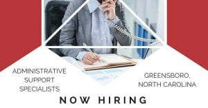 Administrative Support Specialists Greensboro NC